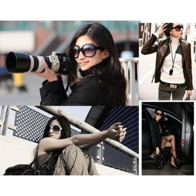 セレブなファッションサングラス (豹柄 白縁 2色アリ) レディース ビックフレーム UV400 防紫外線 芸能人風[HAPPYNESSMAIL]