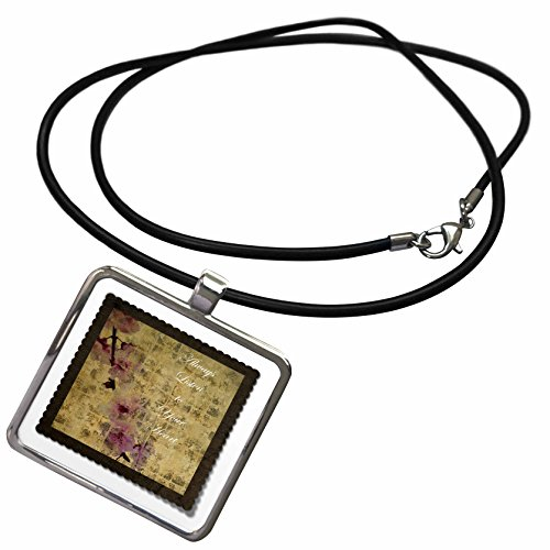 3dRose PS Inspirations - Listen To Your Heart Inspired Cherry Blossom Floral - Necklace With Rectangle Pendant (ncl_63428_1)