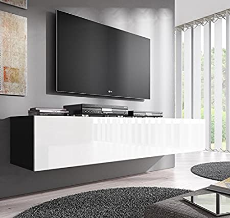 Muebles Bonitos – Mueble TV modelo Forli XL (160 cm) en color negro con blanco