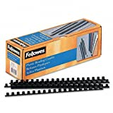 Fellowes Plastic Comb Bindings, 0.375 Inch, 55-Sheet Capacity, Black, 100 per Pack (52325)