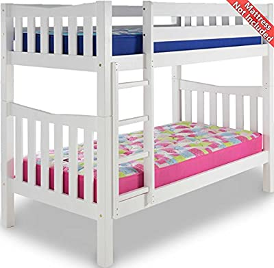 Airsprung Hampton Wooden Bunk Bed Frame - White - Single 3ft - No Drawers