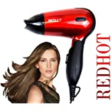 Red Hot Professional Style Compact Foldable Hair Dryer Hairdryer with Concentrator Nozzle