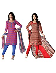 RUDRA FASHION DIWALI SPECIAL COMBO PINK & BLUE POLY COTTON SALWAR SUIT UNSTICHED DRESS MATERIAL COMBO PACK WITH...