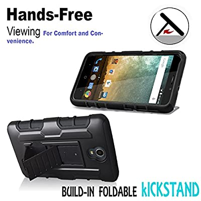 ZTE Grand X3 Case, Starshop [Heavy Duty] Full Protection Dual Layers Hybird Case with Kickstand and Locking Belt Swivel Clip With Premium Screen Protector () by STARSHOP