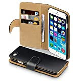 Apple iPhone 6 Premium PU Leather Wallet Case by Terrapin - Black/Tan