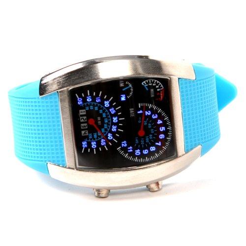 Shot-In Creative Led Watch Sector Sports Car Meter Dial Men Wrist Watch (Blue)