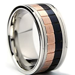 10MM Tri-Color Stainless Steel Brick Style Spinner Ring Size 8