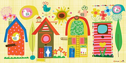 Oopsy Daisy Backyard Birdhouses Stretched Canvas Wall Art by Carolyn Gavin, 36 by 18-Inch