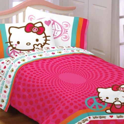 hello kitty peace 4pc twin comforter set