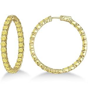 Fancy Yellow Canary Diamond Hoop Earrings 14k Yellow Gold (10.00ct)