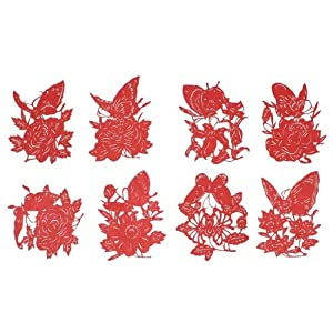 Wedding Door Decorations Chinese Folk Butterfly Peony Flower Paper Cuts 8 Pcs