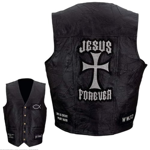 Genuine Leather Biker Vest with Christian Patches Large