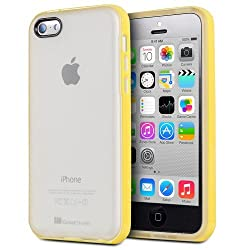 GreatShield iPhone 5C Slim Fit TPU Bumper Case with Frosted Hard Back Cover for Apple iPhone 5c (Yellow)
