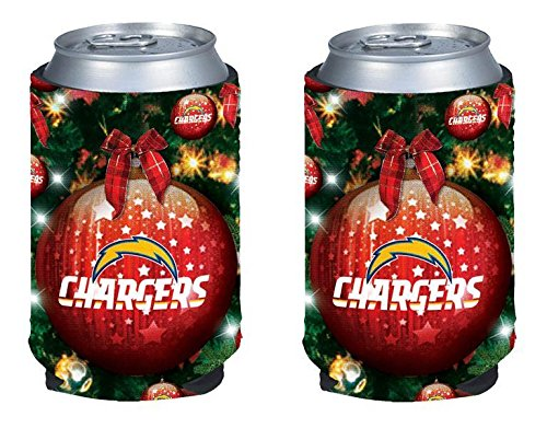 NFL Football Christmas Ugly Party Can Kaddy Holder Cooler 2-Pack (San Diego Chargers)