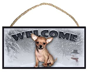 Chihuahua (tan) Winter Season Welcome Dog Sign / Plaque featuring the art of Scott Rogers