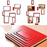 yazi Cadre photo Bois Creative Stickers Autocollant muraux DIY 3D en rectangle cadres photo à suspendre en papier rouge Lot de 10