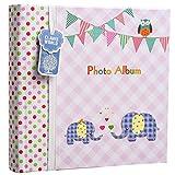 �lbum de fotos grande para beb�s y ni�as, con apartados para notas, espacio para 200 fotos de 15,2 x 10,2�cm, dise�o con elefantes, ideal para regalo, color rosa