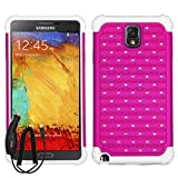 SAMSUNG GALAXY NOTE 3 PINK WHITE DIAMOND BLING HYBRID COVER HARD GEL CASE + FREE CAR CHARGER from [ACCESSORY ARENA]