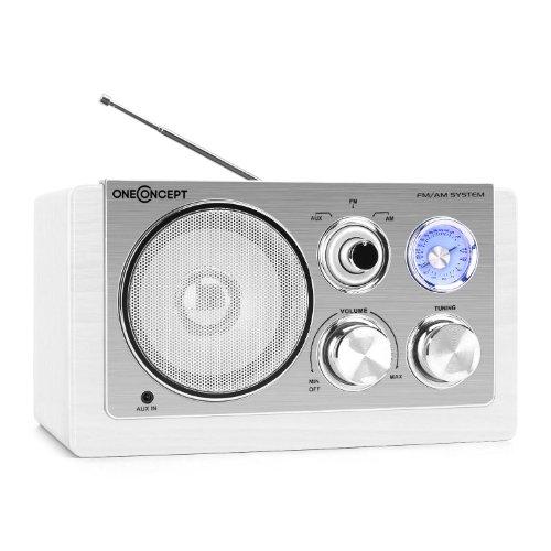 oneConcept Cesena Holz Küchendadio Retro FM Radio (UKW-MW-Radio-Tuner, AUX, Netz-Betrieb) weiß