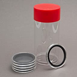 (1) Airtite Coin Holder Storage Container & (5) Black Ring 40mm Air-tite Coin Holder Capsules for American Silver Eagles & 1oz China Silver Panda Sterling