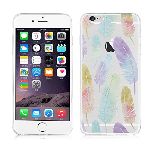 JAMMYLIZARD   Cover custodia in Silicone Trasparente con Sketch per iPhone 6 Plus e 6s Plus, PIUME COLORATE