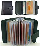 Quality Soft Black Leather Credit Card Holder with 20 Plastic Card Sleeves/Slots