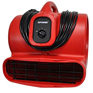 XPOWER X-600A 1/3 HP 2400 CFM 3 Speed Air Mover with GFCI Outlets for Daisy Chain, 3.8-Amp