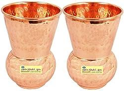 SHIV SHAKTI ARTS Handmade Pure Copper Matka Glass Set of 2