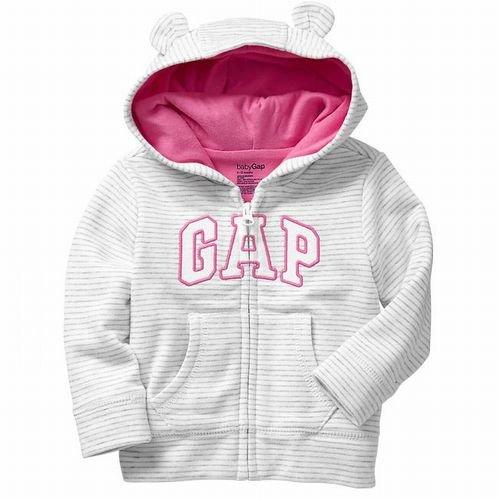 GAP(ギャップ)baby GAP 耳付きフード ロゴ ボーダー パーカー(白色×灰色)(並行輸入品) (12-18M(1歳-1歳半))