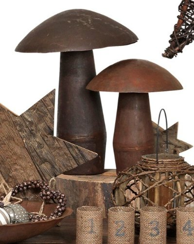 Deko Pilz - Metall mit Rost-Patina - grosse Größe, 46 cm - Dekofigur Garten - broste Copenhagen