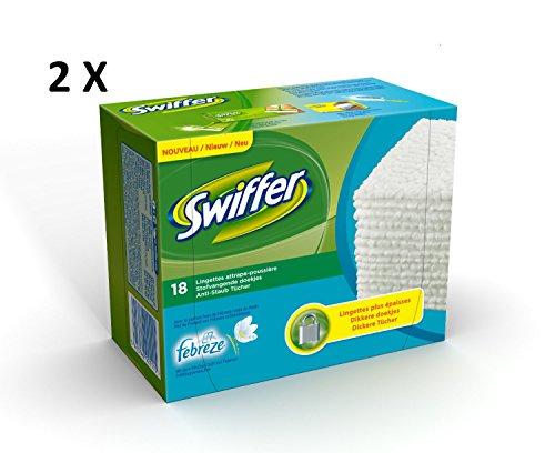 Swiffer panno asciutto Febreze alla ricarica, confezione da 18 panni x 2