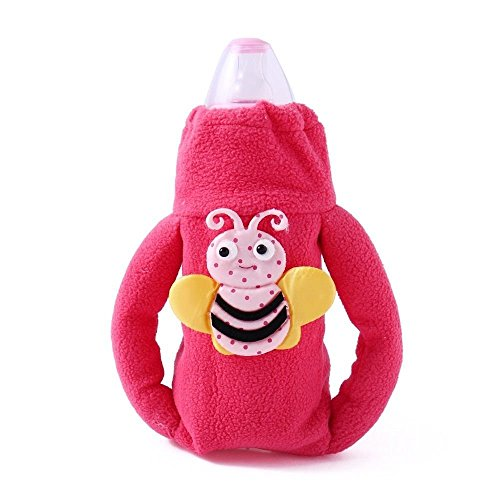 Wonderkids Magenta Plush Twin Handle Bottle Cover Butterfly Motif
