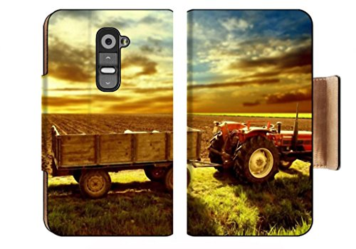 Landscape Country Tractor Cornfield Sky Sunset Punktail'S Collections Lg G2 Flip Case Stand Magnetic Cover Pu Leather