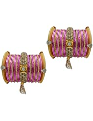 Pink Bridal Chura Alloy Gold Plated Bangles By My Design(size-2.4)