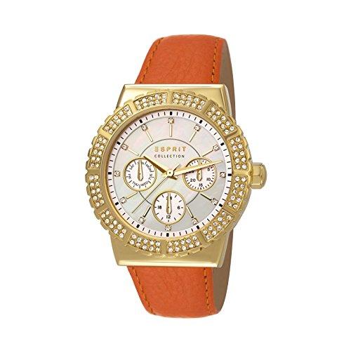 Esprit  ANGELIA - Reloj de cuarzo para mujer, con correa de cuero, color marrón