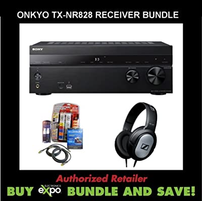 Onkyo TX-NR828 7.2-Channel Wireless Network A/V Receiver, Plus Monster Dual HDMI Performance Kit and Sennheiser Stereo Headphones by Sony