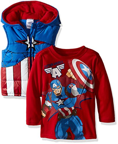 Marvel Boys' Toddler Boys' 2 Piece Captain America T-Shirt and Costume Hooded Vest, Red, 4T (Captain America T Shirt Toddler compare prices)