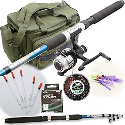 New Travel Starter Fishing Rod & Reel Set Up With Floats Feathers And Rod Bag by Carp-Corner