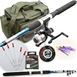 New Travel Starter Fishing Rod & Reel Set Up With Floats Feathers And Rod Bag