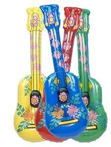 1 x Fancy Dress Hawaiin Beach Party Hula Hula Inflatable Coloured Guitar Red
