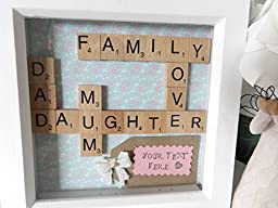 Personalized Scrabble Tile Art Family Tree Box Frame Gift. Handmade Unique Custom Wooden Letters Gift for any Occasion Christmas, Birthday, Engagement Present Name Art. Hand Stamped Message Bespoke