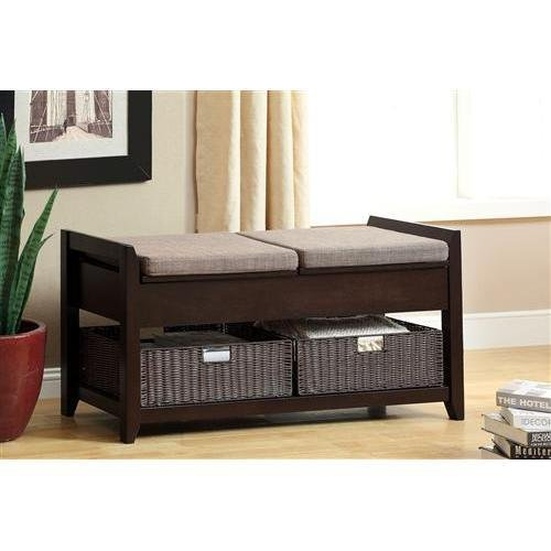 Mwave IDF-BN6301 Raleigh Accent Bench with Storage Baskets, Material: Wood, wood veneers, plastic, Finish: Espresso