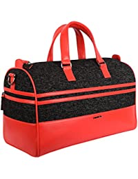Veuza Madrid Premium Jacquard And Faux Leather Black Duffel Bag