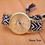 Geneva レディス 腕時計 ミサンガウォッチ 刺繍柄 ボヘミアン ブレスレット風 (ホワイト&ブラック)