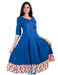 Campanula Blue Anarkali Kurta With Wide Flare From ESTYLe