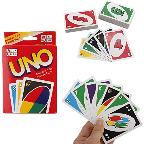 REALACC 108 Standard Fun UNO Playing Cards Game For Family Friend Travel Instruction New
