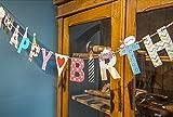 SUNBEAUTY 15枚セット 2m 可愛いヒゲさん  英文字 フラグ DIY ペーパー ガーランド 誕生日会 バースデー 飾り付け 庭 インテリア パーティー デコレーション 写真道具背景 (Happy Birthday)