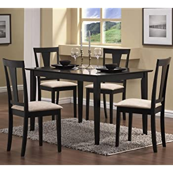 Coaster 5pc Casual Dining Table and Chairs Set in Black Finish