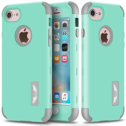 iPhone 7 Case, Asstar Hybrid Heavy Duty Shockproof 3in1 Printed Design Hard PC + Soft Silicone Impact Protection Combo Hard Soft Cases Covers for Apple iPhone 7 (Mint grey) (3in1 Contact Case compare prices)