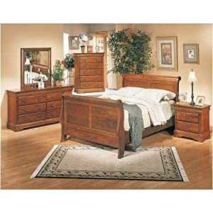 5 Piece King Size Dark Oak Sleigh Bed Bedroom Furniture Sets